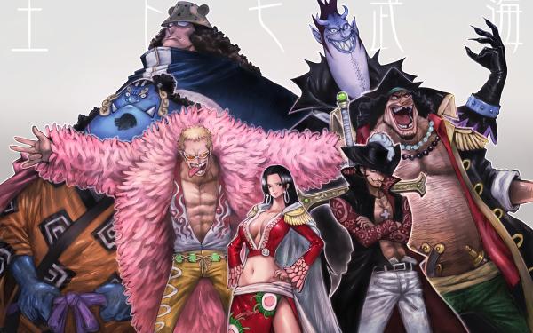 Anime One Piece Jinbe Bartholomew Kuma Gekko Moriah Marshall D. Teach Donquixote Doflamingo Boa Hancock Dracule Mihawk HD Wallpaper | Background Image