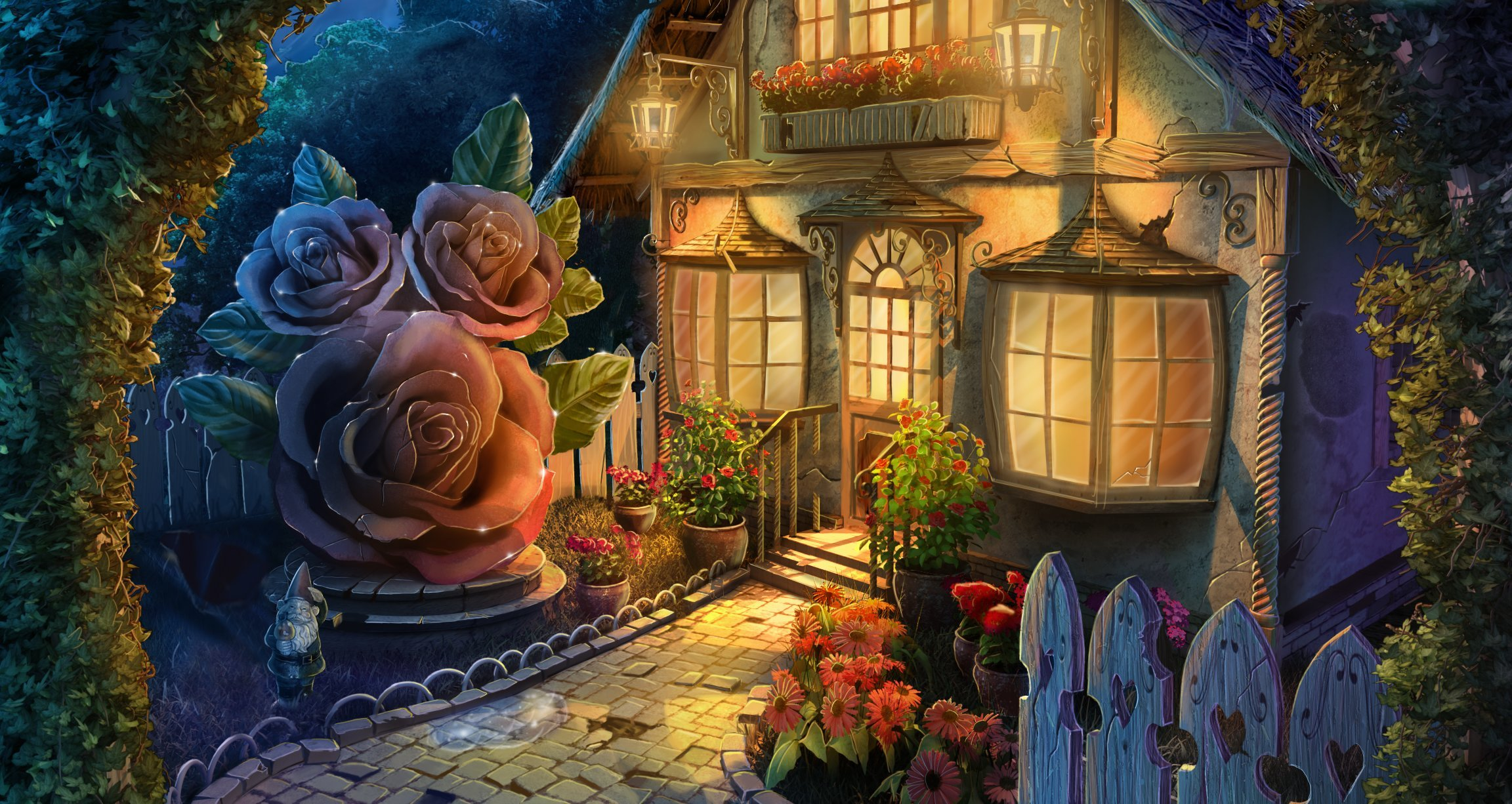 Fantasy house of flowers full hd wallpaper and background for Home painting images
