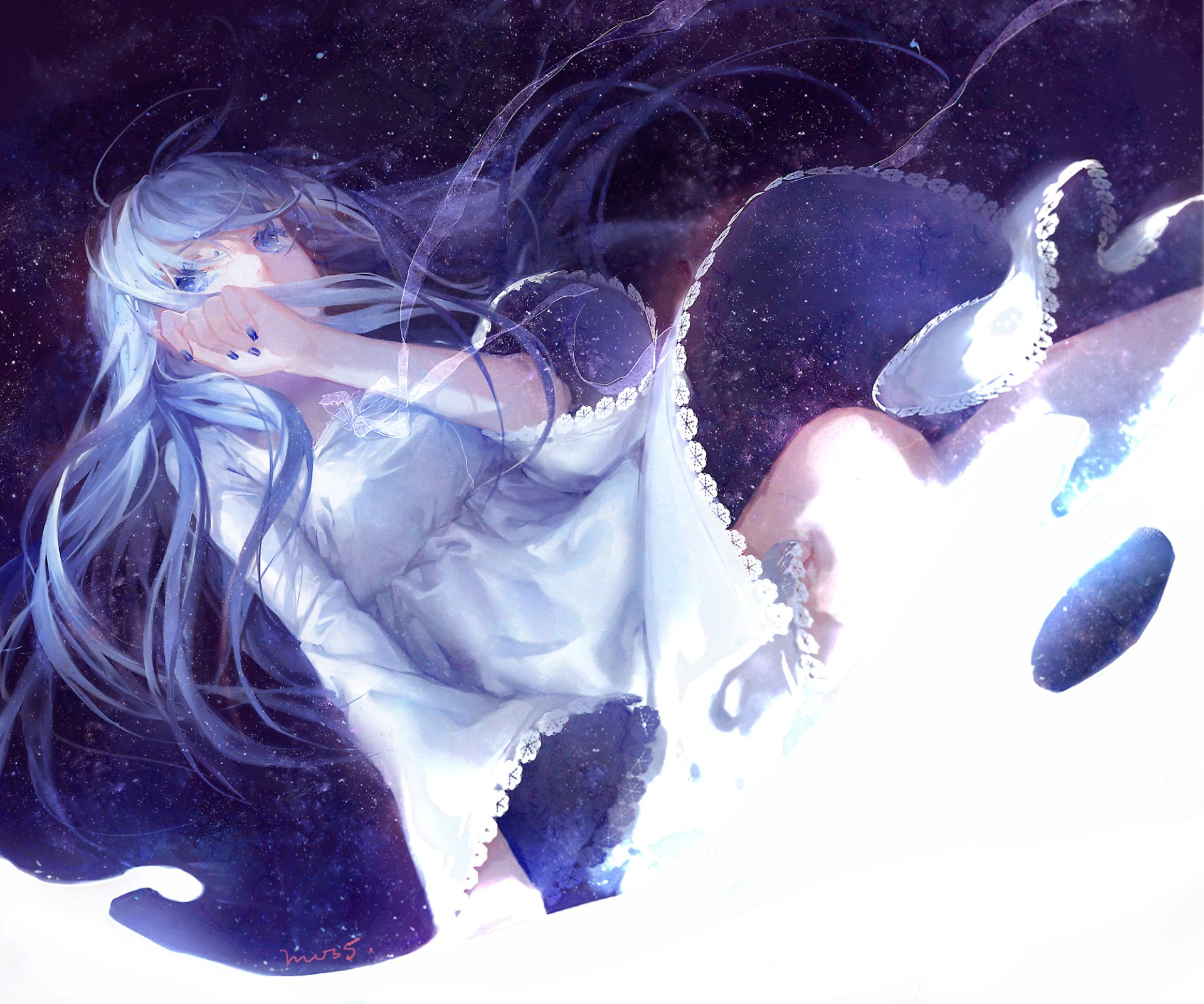 Anime - Original  Anime Original (Anime) Girl Long Hair Blue Hair Glitter Dress Blue Eyes Wallpaper