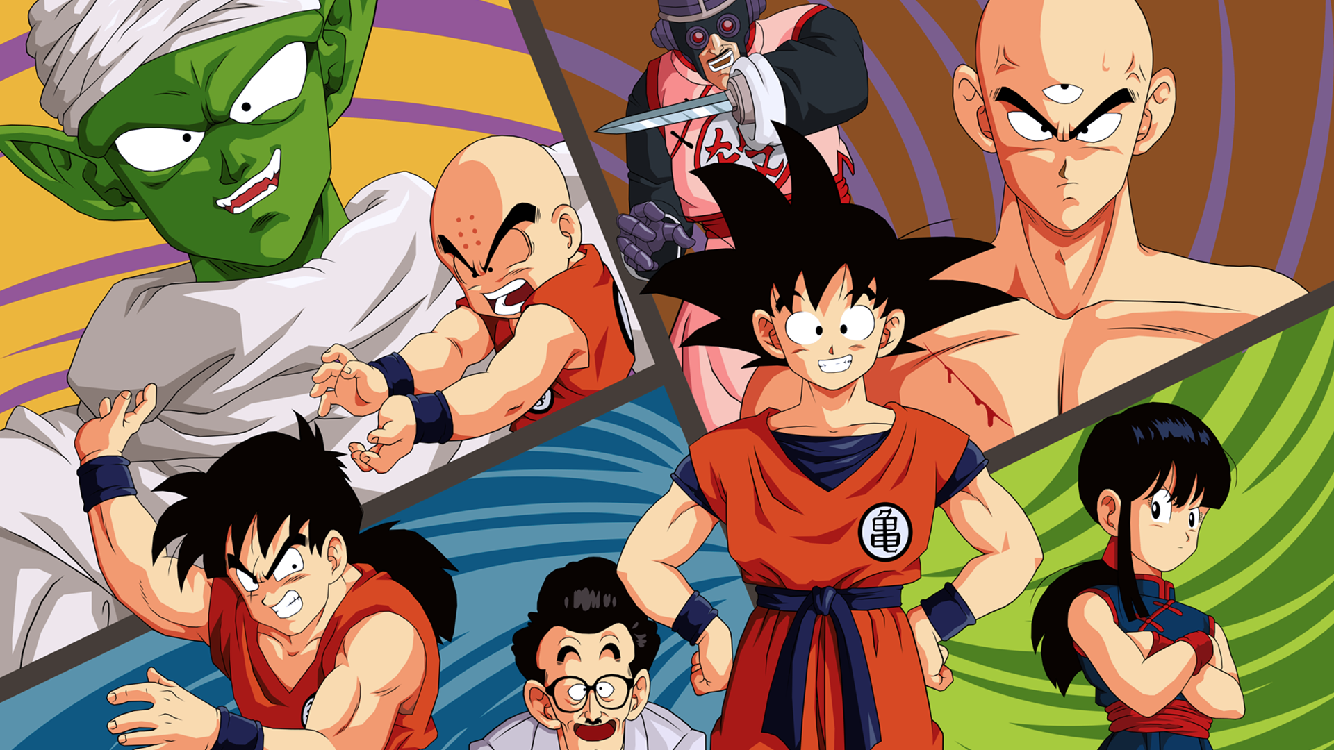 Anime - Dragon Ball  Goku Piccolo (Dragon Ball) Krillin (Dragon Ball) Chichi (Dragon Ball) Tenshinhan (Dragon Ball) Yamcha (Dragon Ball) Mercenary Tao (Dragon Ball) Master Roshi (Dragon Ball) Wallpaper