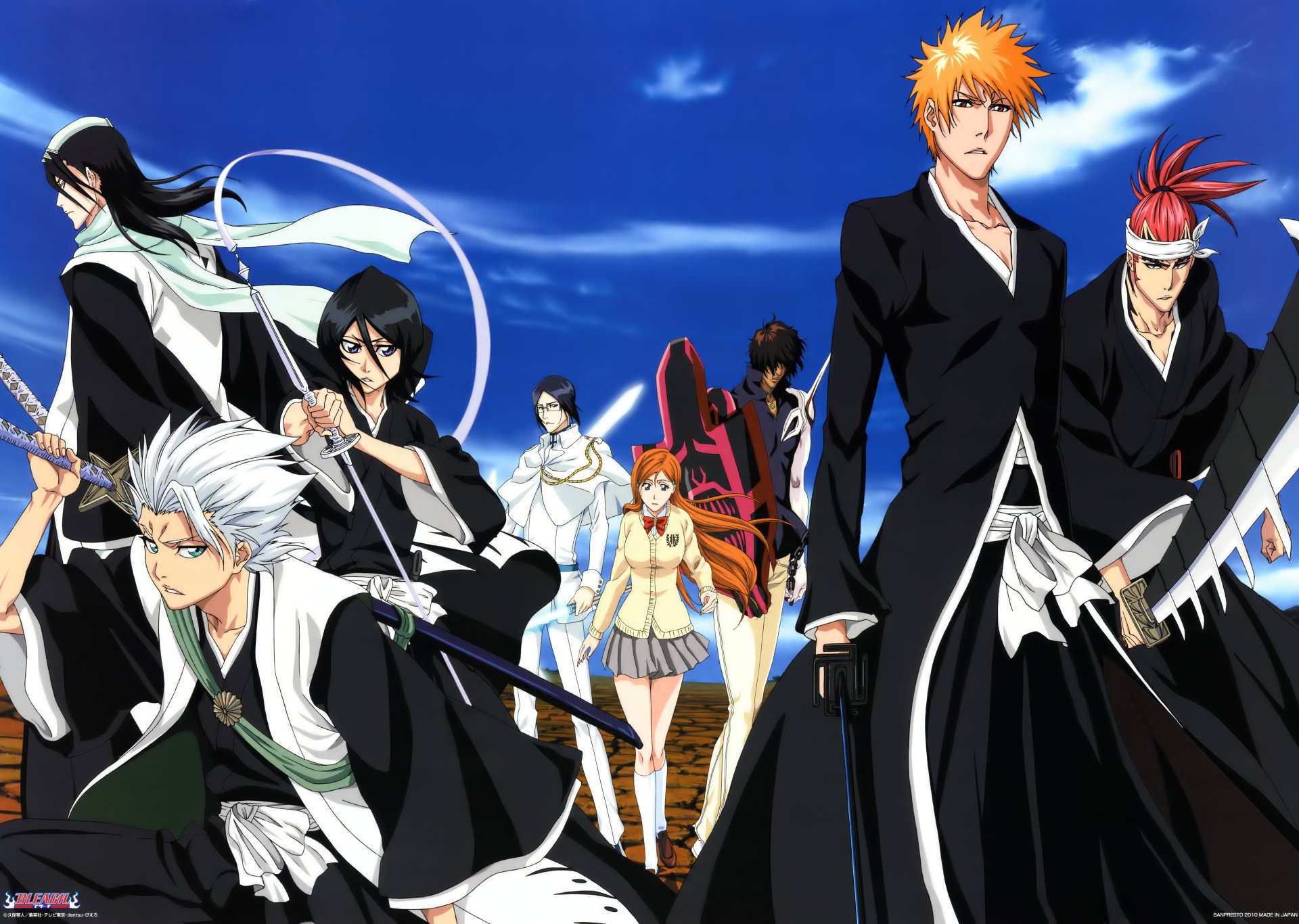 Anime - Bleach  Ichigo Kurosaki Renji Abarai Byakuya Kuchiki Sado Yasutora Orihime Inoue Rukia Kuchiki Tōshirō Hitsugaya Katana Weapon Long Hair Short Hair Orange Hair White Hair Black Hair Ponytail Uryu Ishida Wallpaper