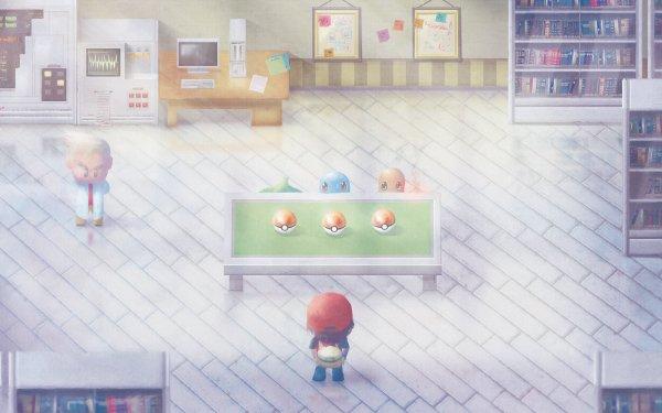 Videojuego Pokémon: Rojo y Azul Pokémon Pokeball Red Professor Oak Squirtle Charmander Bulbasaur Fondo de pantalla HD | Fondo de Escritorio