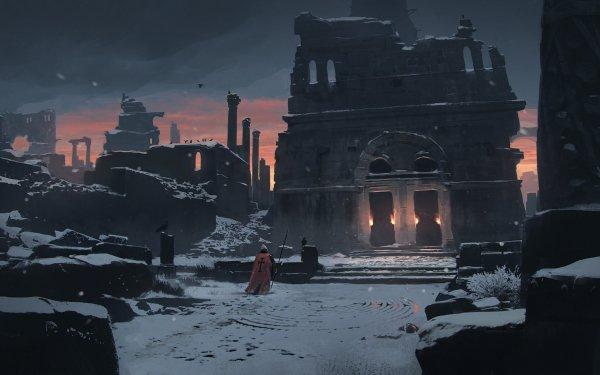 Fantaisie Ruine Nuit Hiver Snow Guerrier Spear Chevalier Pierre Fond d'écran HD | Arrière-Plan