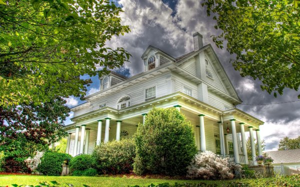 Man Made House Buildings Architecture Columns Bush Shrub Green HD Wallpaper | Background Image