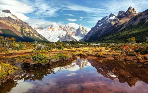 Earth Mountain Mountains Argentina Patagonia Andes Lake Reflection Nature Landscape HD Wallpaper | Background Image