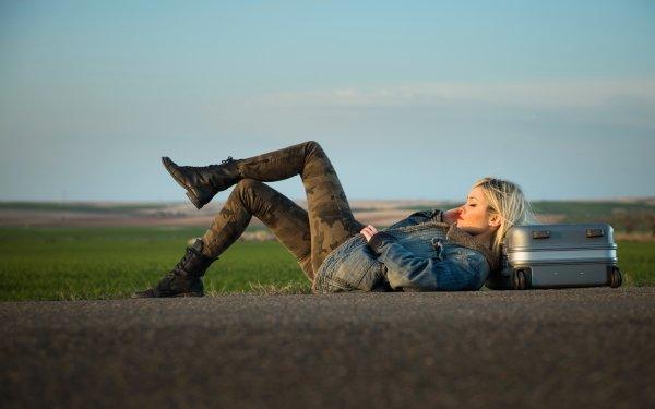 Women Mood Road Suitcase Blonde HD Wallpaper | Background Image