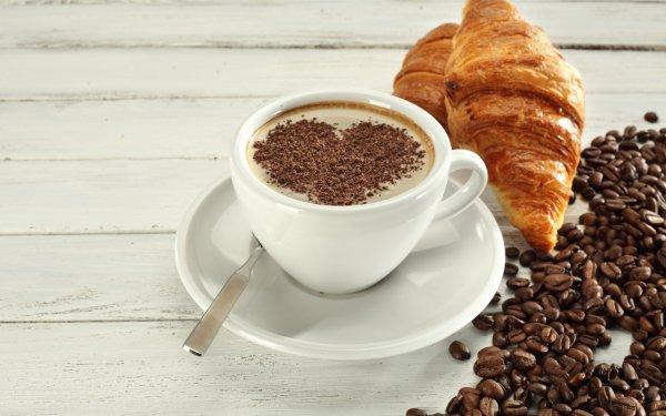 Alimento Desayuno Café Coffee Beans Cup Croissant Corazón Fondo de pantalla HD | Fondo de Escritorio