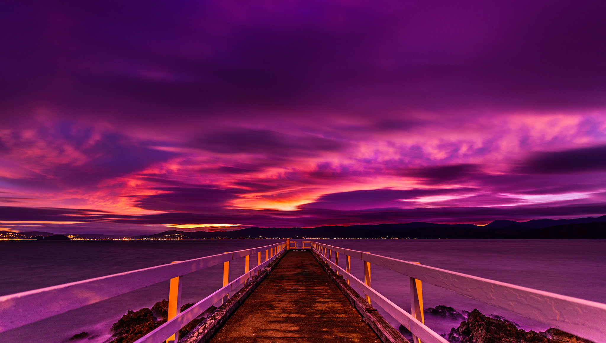Purple Sunset Over Pier Hd Wallpaper Background Image 2048x1158 Id 683722 Wallpaper Abyss