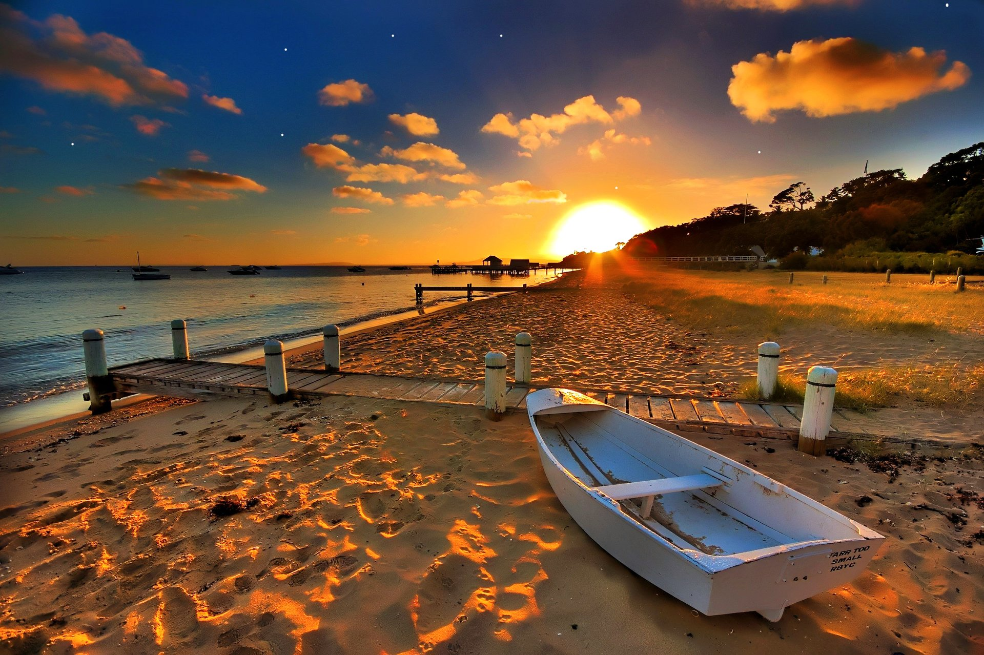 Photography - Beach  Landscape Scenic Vehicle Boat Sunset Sun Sand Pier Wallpaper