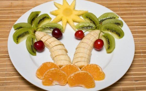 Food Fruit Fruits Banana Mandarin Cherry Kiwi Plate HD Wallpaper | Background Image