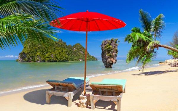 Photography Holiday Chair Umbrella Beach Tropical Tropics Ocean Thailand Rock Palm Tree HD Wallpaper | Background Image