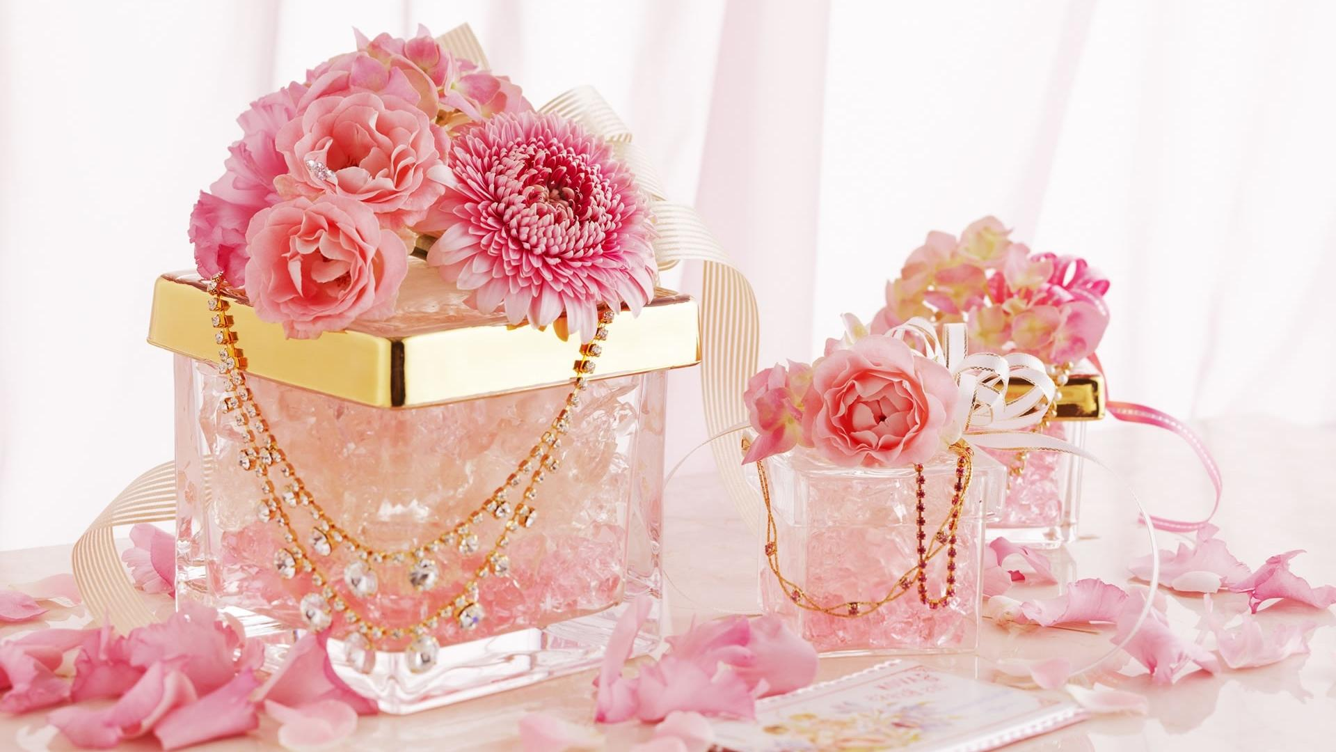 Pink Flowers And Jewelry Hd Wallpaper Background Image