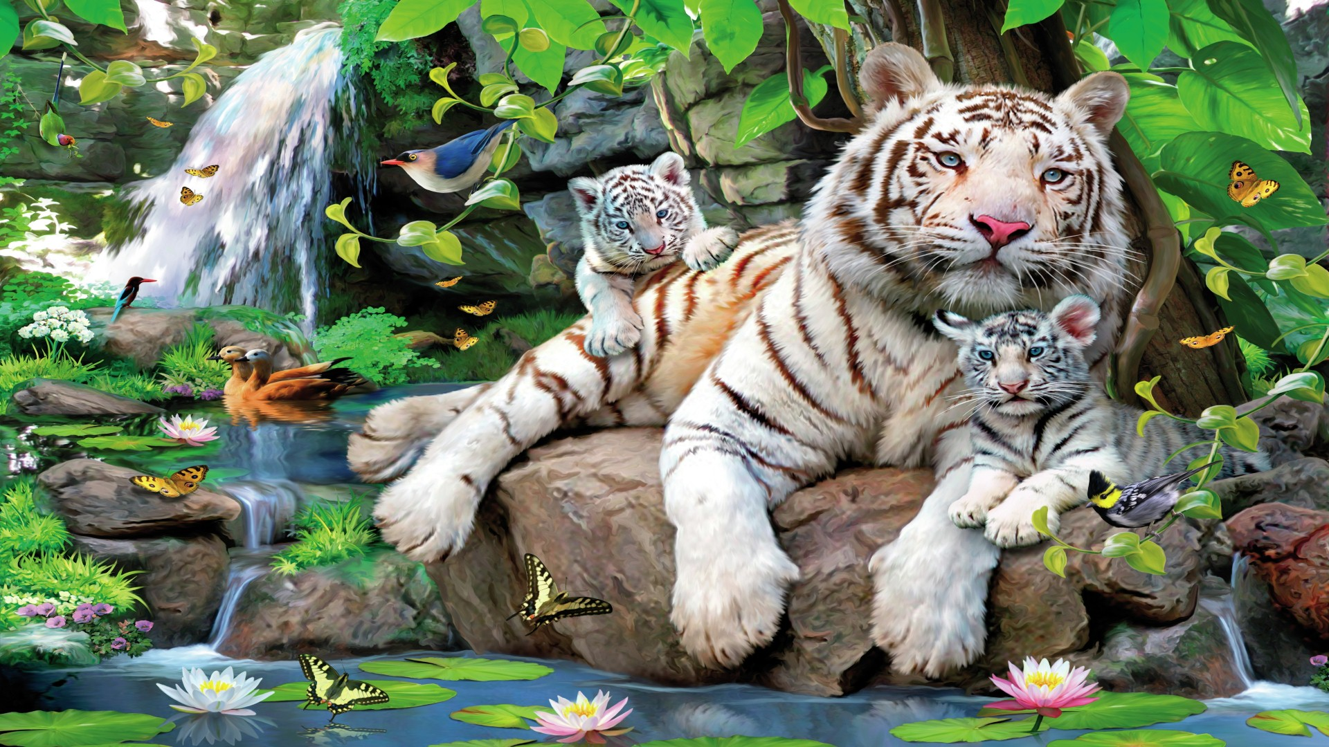 white tiger and cubs in paradise full hd wallpaper and background