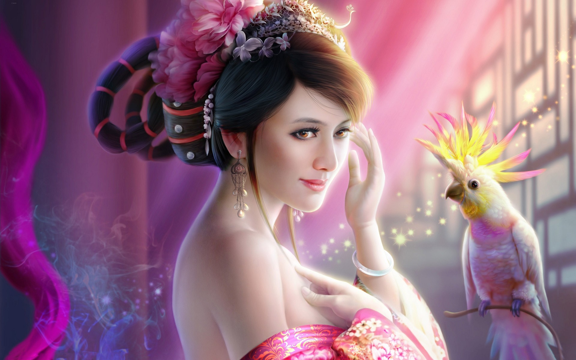 Fantasy - Women  Fantasy Oriental Woman Parrot Brunette Wallpaper
