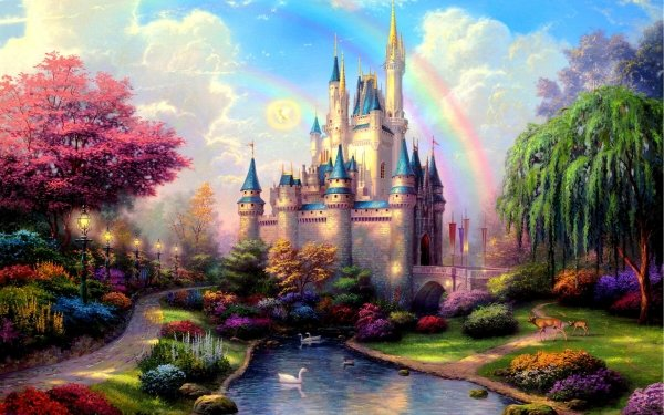 Fantasy Castle Castles Cinderella Castle Colorful Tree Bush River Swan HD Wallpaper | Background Image