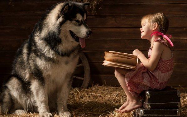 Photography Child Little Girl Dog Barn HD Wallpaper | Background Image