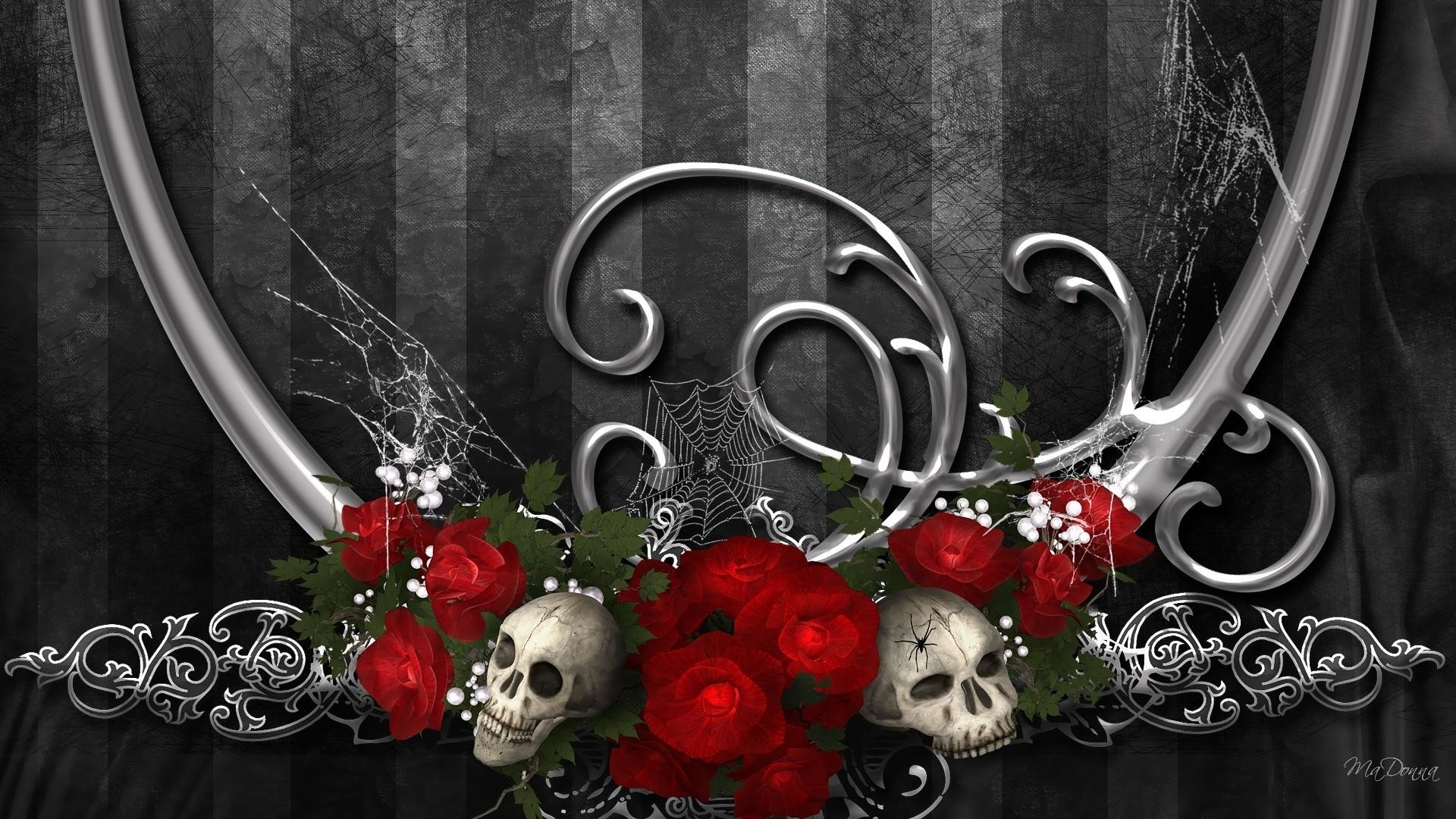 skull and roses wallpapers - photo #34