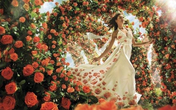 Women Artistic Woman Flower Rose Dress Orange Flower Brunette White Dress HD Wallpaper | Background Image