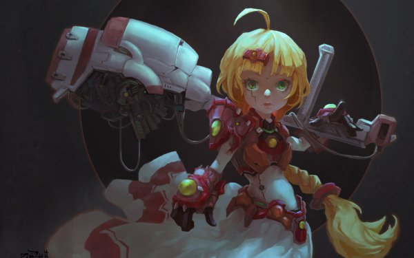 Sci Fi Women Warrior Girl Woman Warrior Blonde Long Hair Braid Green Eyes Weapon HD Wallpaper   Background Image