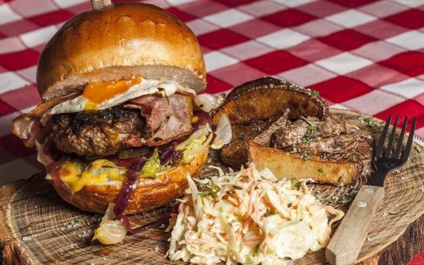Food Burger Hamburger Coleslaw Meal Lunch Bacon Egg HD Wallpaper | Background Image