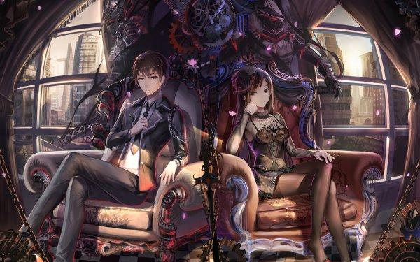 Anime Original Boy Girl Black Dress Gear HD Wallpaper   Background Image