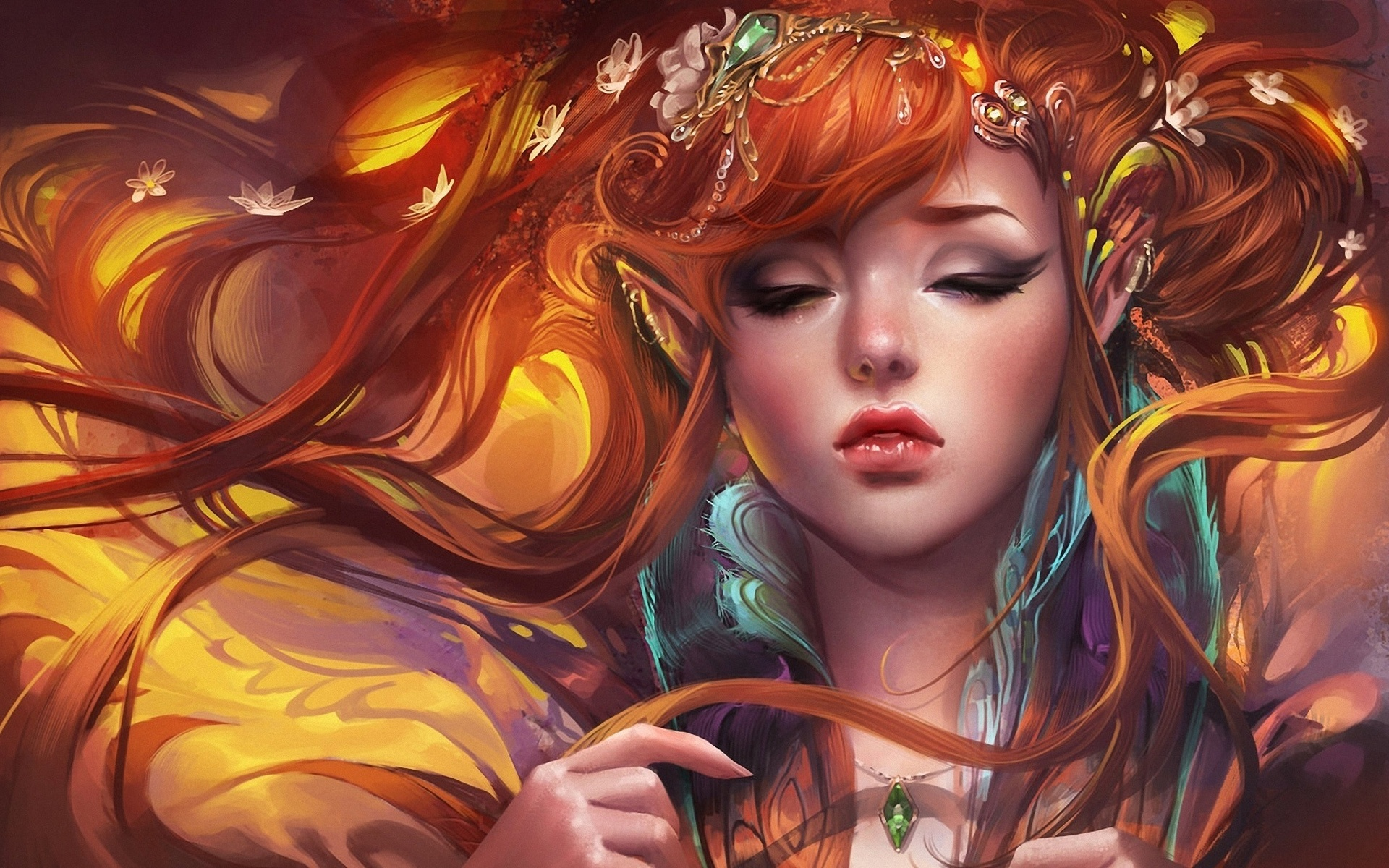 Fantasy - Elf  Long Hair Pointed Ears Red Hair Fantasy Woman Girl Wallpaper