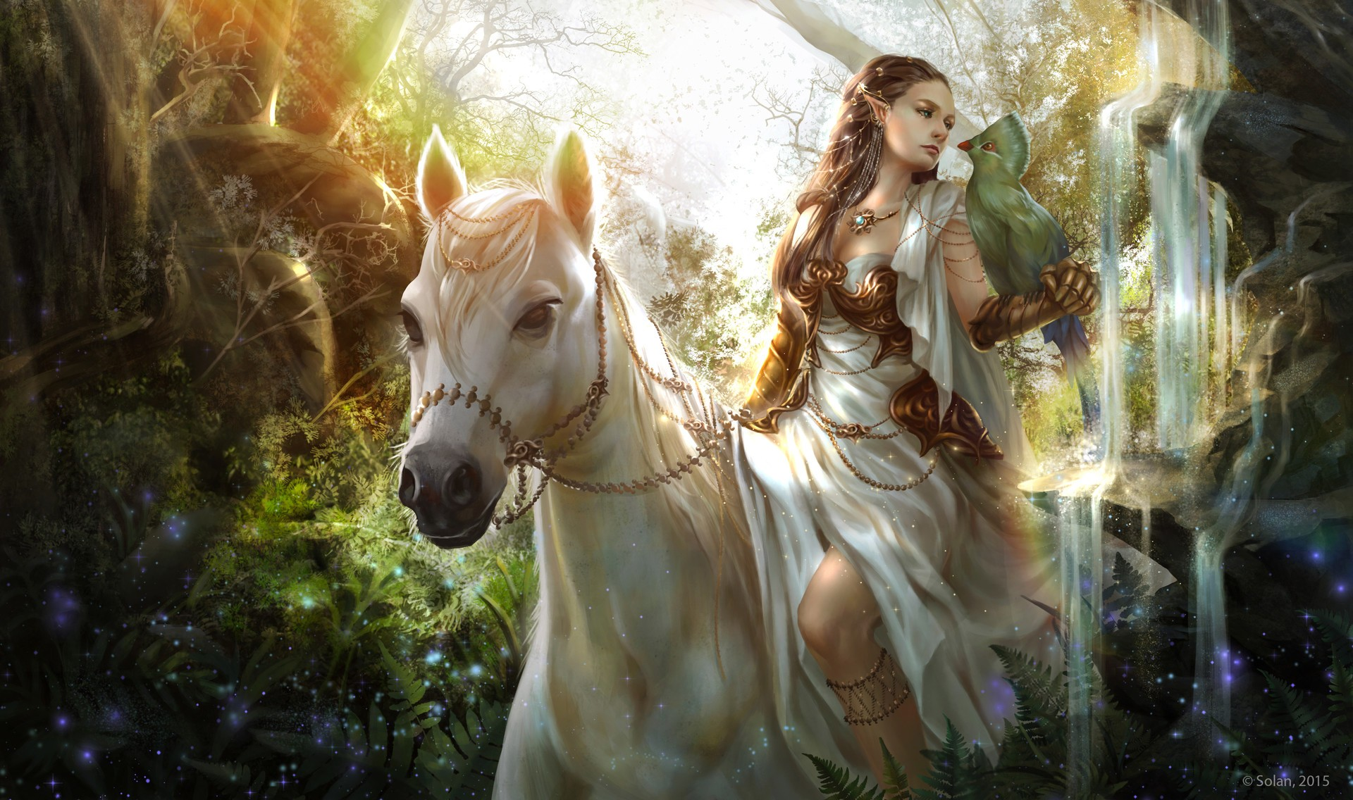 Fantasy - Women  Fantasy Pointed Ears Woman Girl Horse Bird Wallpaper