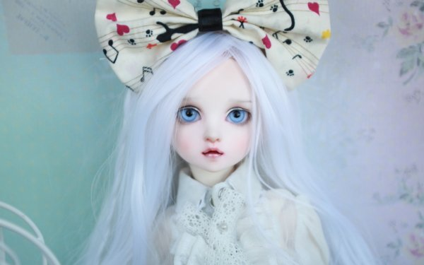 Man Made Doll bow Blue Eyes White Hair HD Wallpaper | Background Image