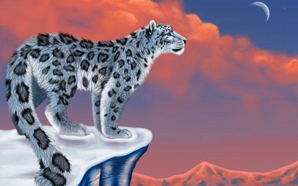 Fantasy Animal Fantasy Animals Snow Leopard Winter Moon HD Wallpaper   Background Image