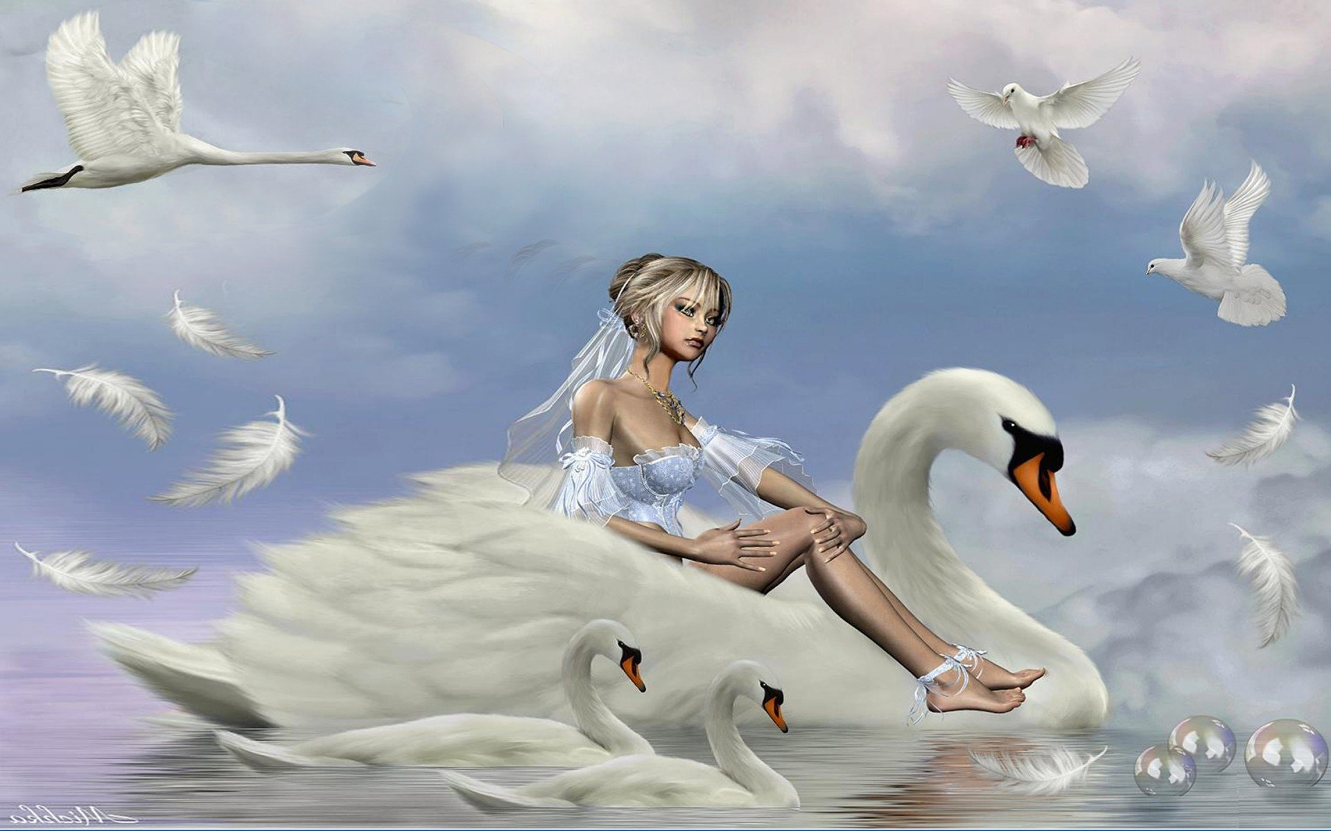 Swan Fantasy Girl Hd Wallpaper Background Image