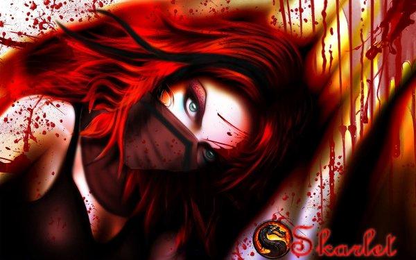 Video Game Mortal Kombat Skarlet Red Hair Woman Warrior HD Wallpaper   Background Image