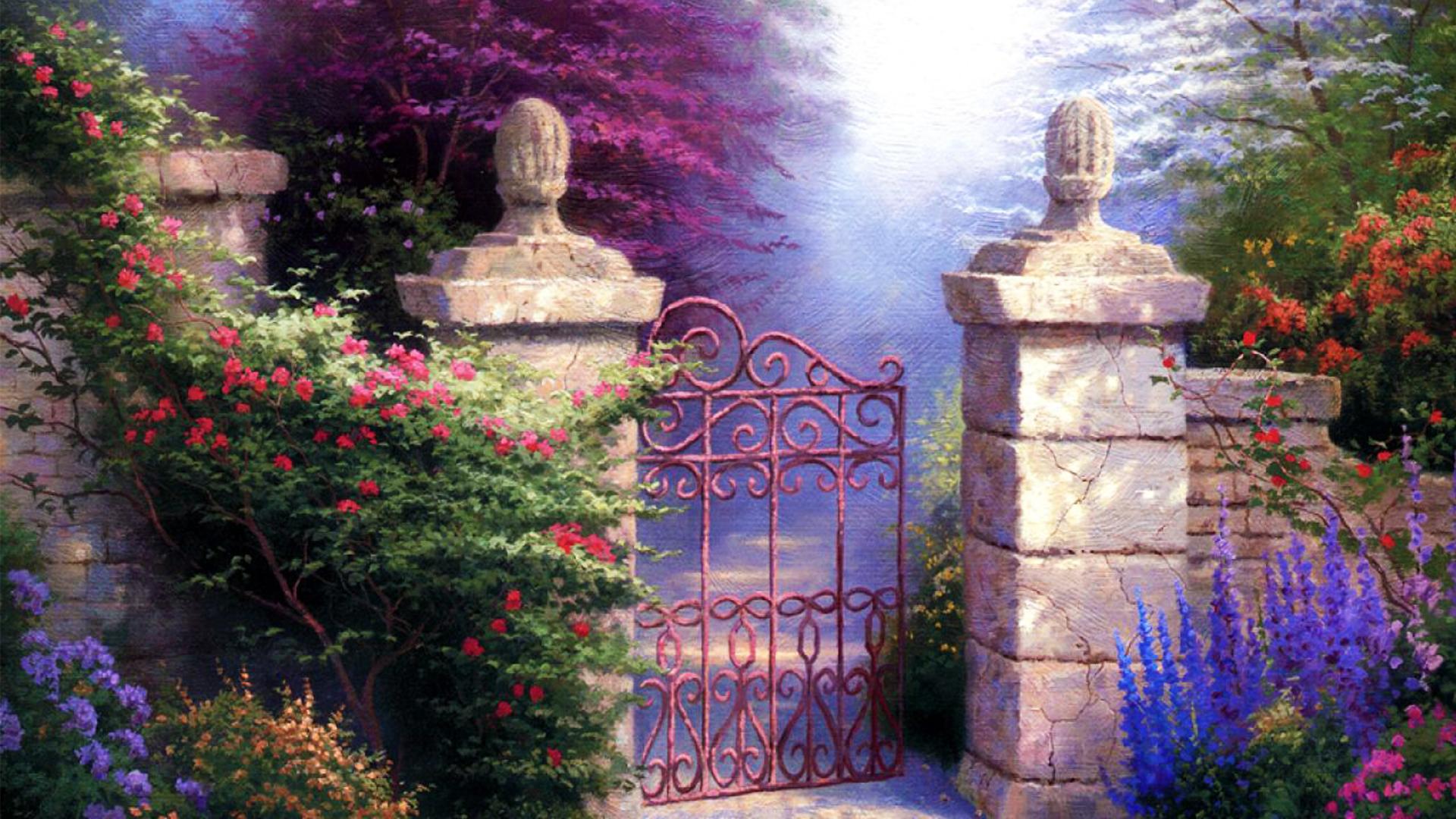 Gate To Spring Garden Hd Wallpaper Background Image