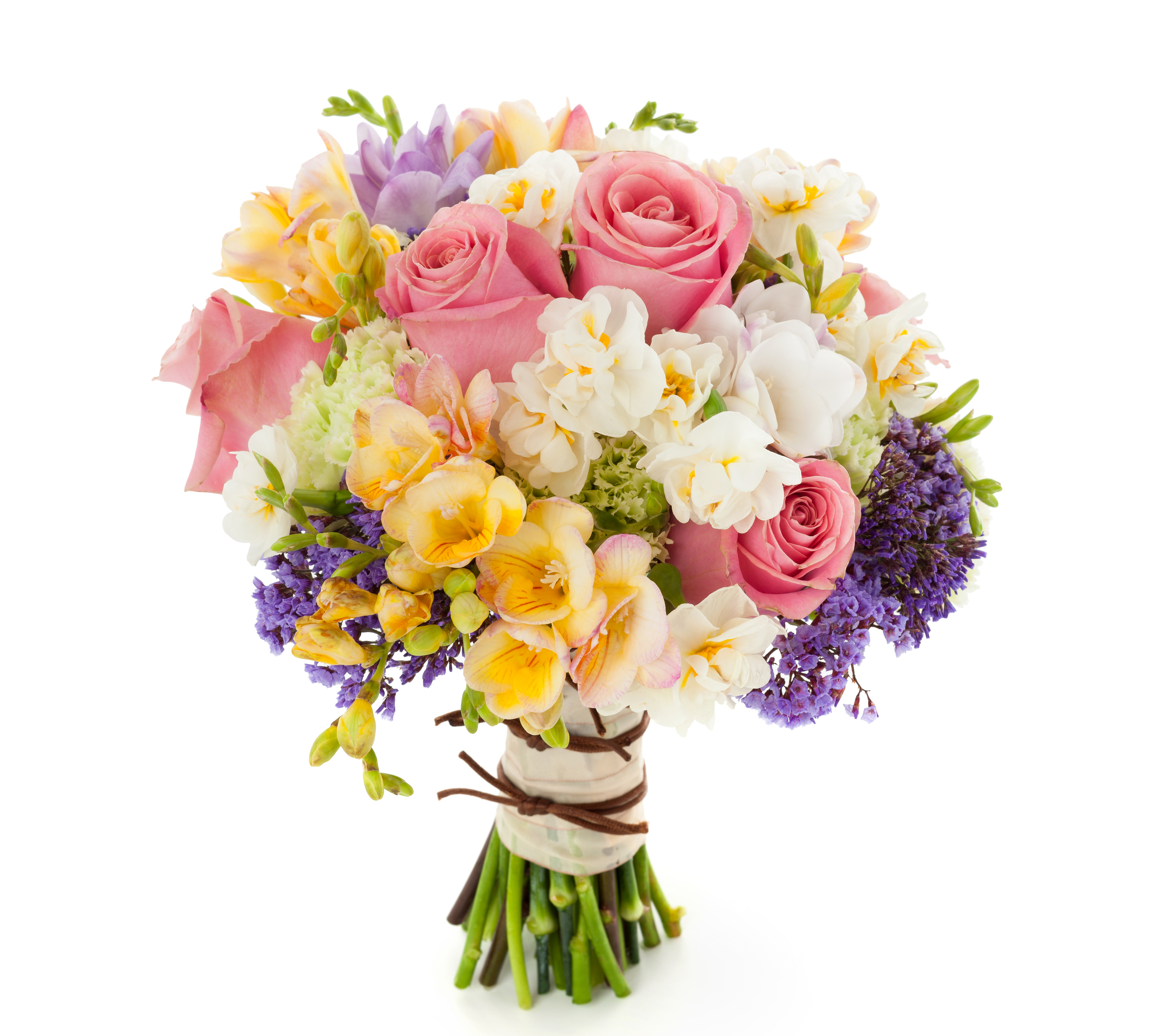Roses and freesia bouquet 4k ultra hd wallpaper and background image man made flower pink flower bouquet colors spring rose freesia white flower yellow flower wallpaper izmirmasajfo Image collections