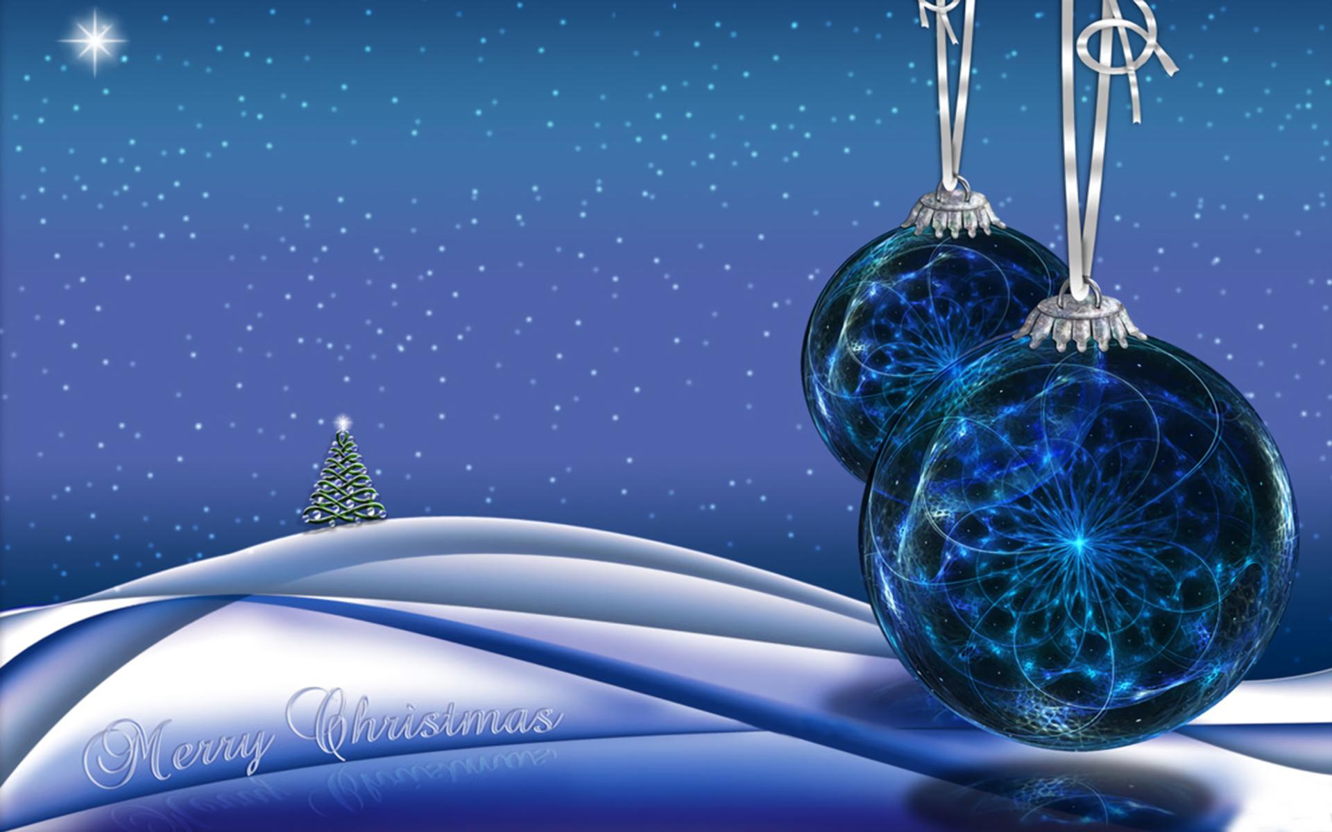 Blue Christmas Ornaments and Christmas Tree Computer ...