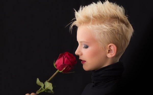 Women Mood Rose Red Rose Flower Blonde Makeup Head Face Lipstick HD Wallpaper   Background Image
