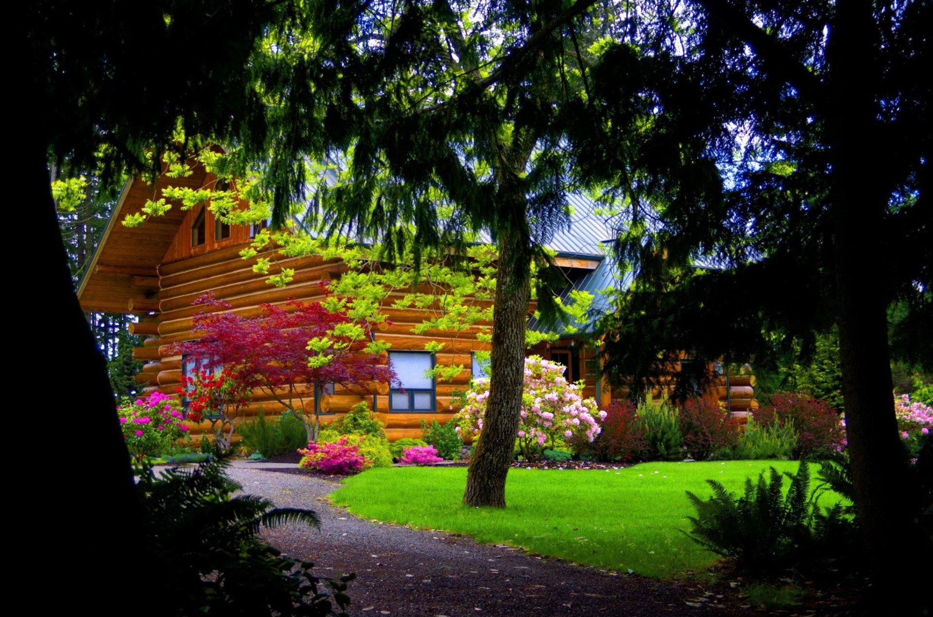 Log Cabin in Spring HD Wallpaper   Background Image ...
