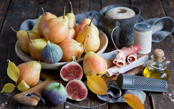 Food Still Life Pear Fig HD Wallpaper | Background Image