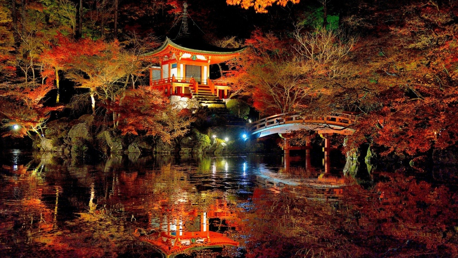 Japanese Garden Reflected In Pond Full HD Wallpaper And Background