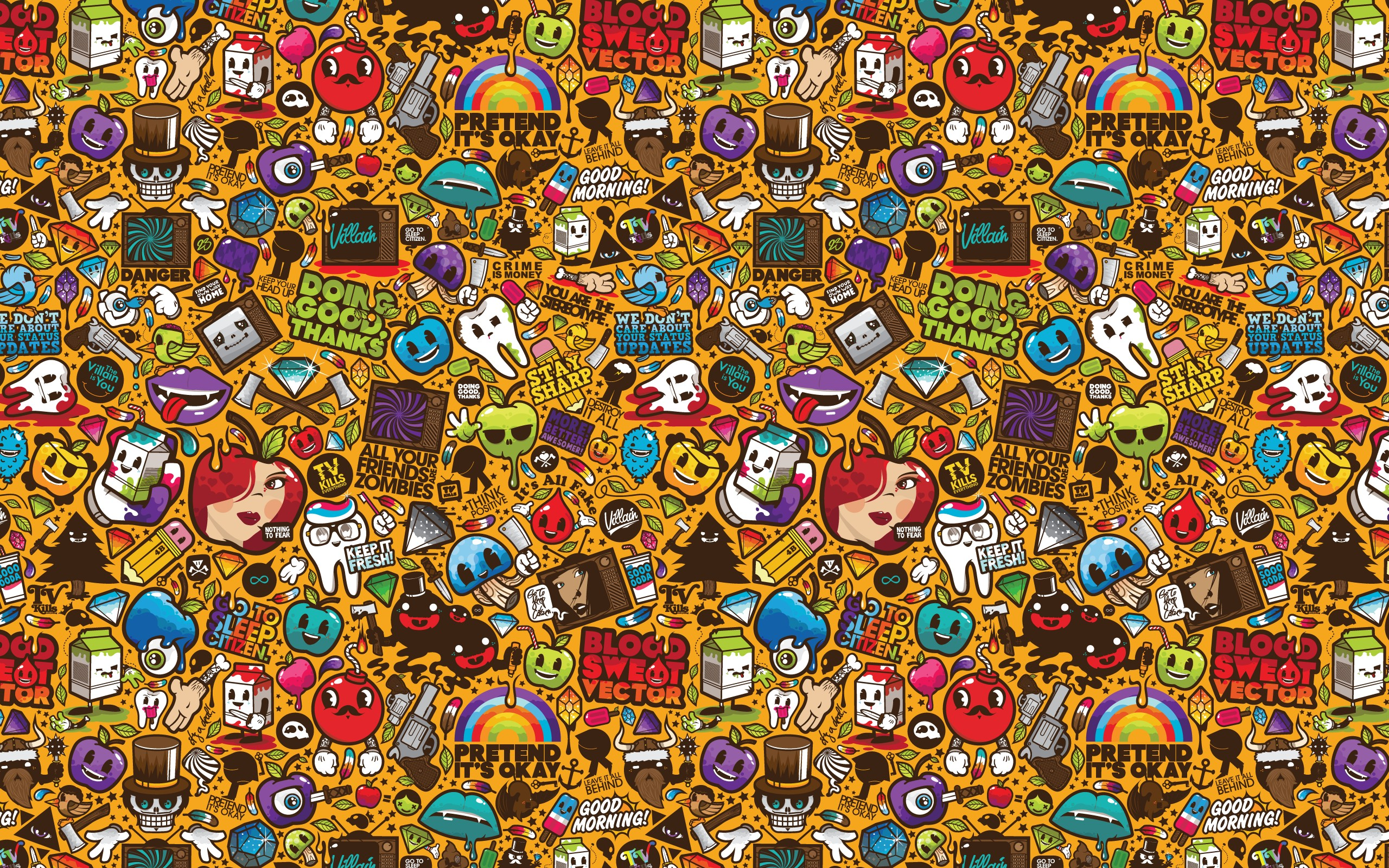 Pop art abstract hd wallpaper background image - Doodle desktop wallpaper ...