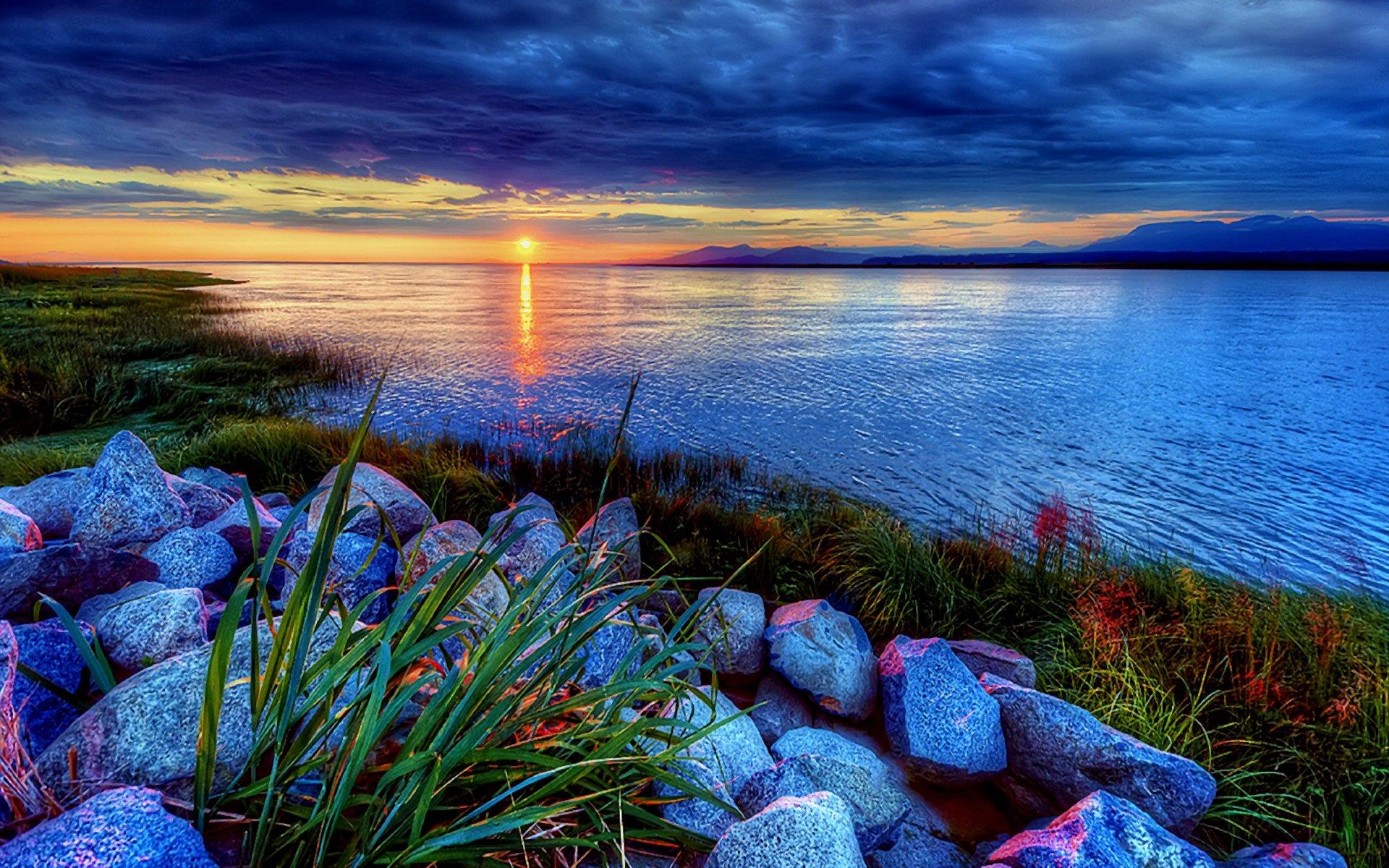 Beautiful Sunrise over Crater Lake widescreen wallpaper Wide