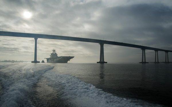 Military USS Makin Island (LHD-8) Warships United States Navy Ship Bridge San Diego Coronado Bay Bridge Amphibious Assault Ship Warship HD Wallpaper | Background Image