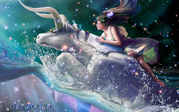 Fantasy Zodiac Taurus Child Blue Night HD Wallpaper | Background Image
