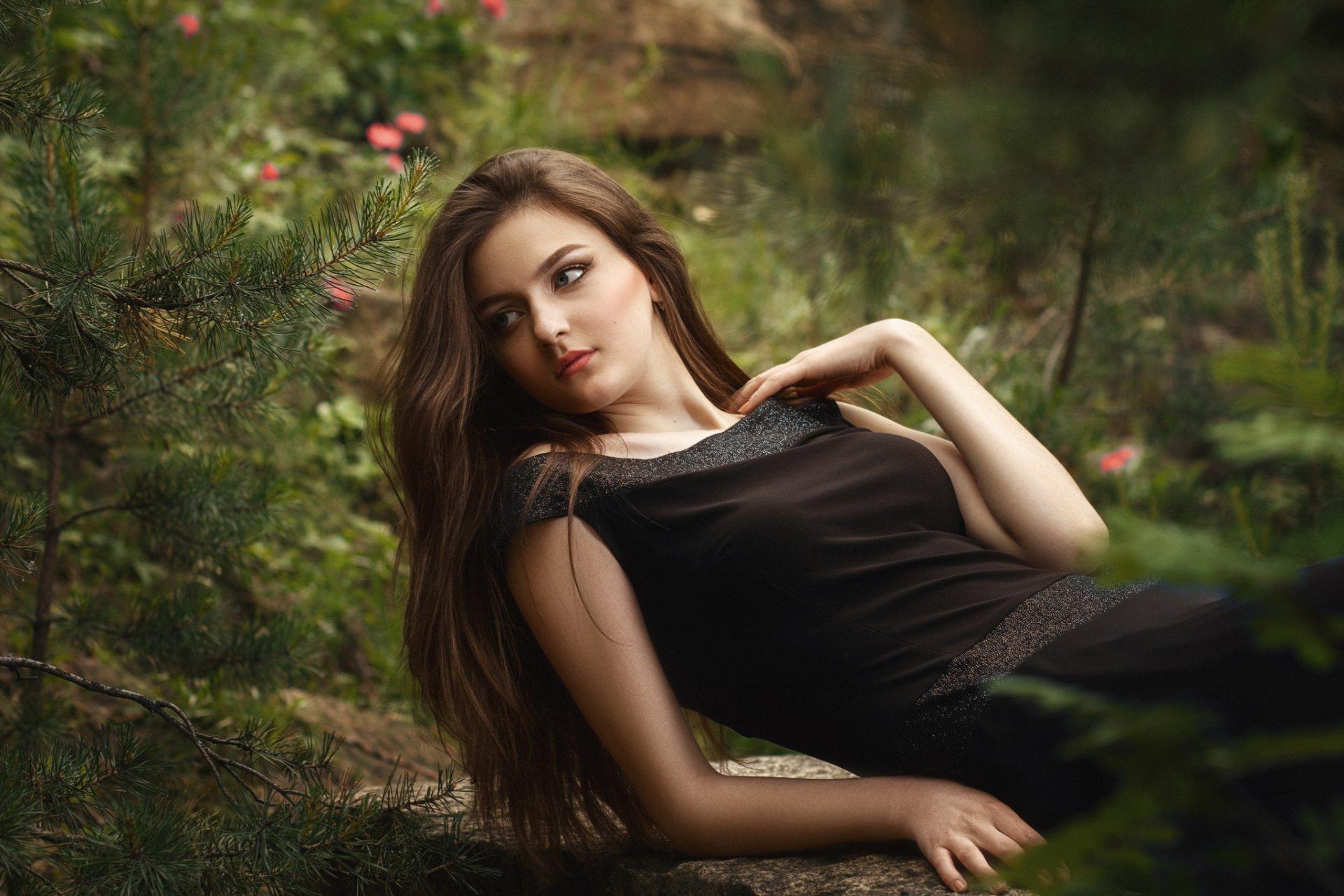 Women - Model  Dress Black Dress Brunette Bokeh Russian Wallpaper