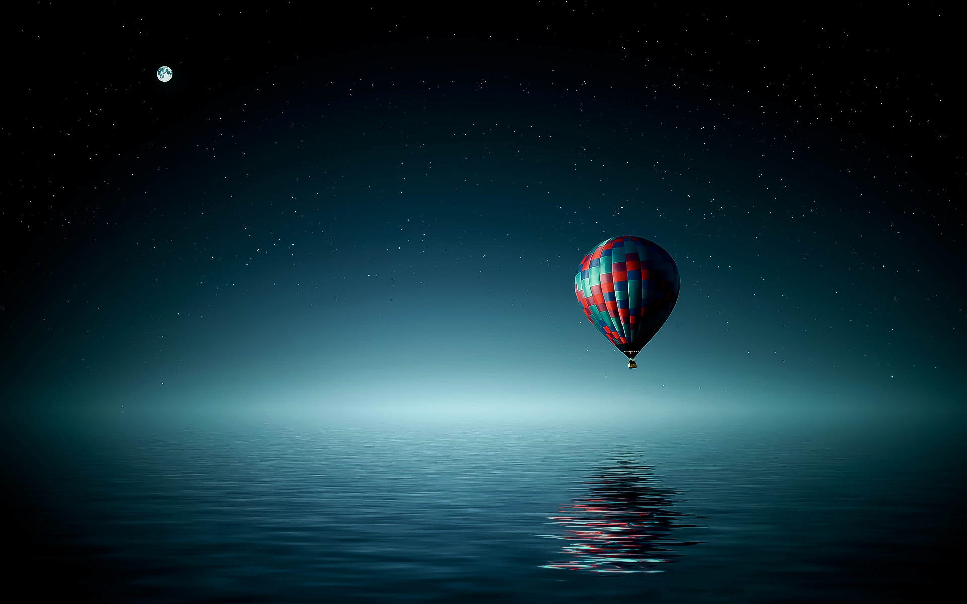 Vehicles - Hot Air Balloon  Night Sky Ocean Vehicle Moon Stars Artistic Wallpaper