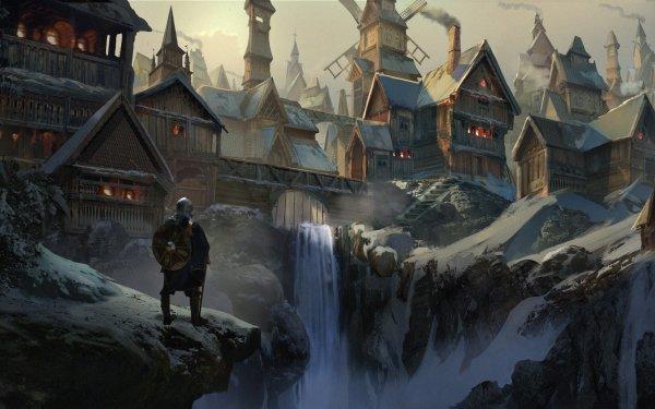 Fantasy Viking Warrior City Windmill Waterfall HD Wallpaper | Background Image