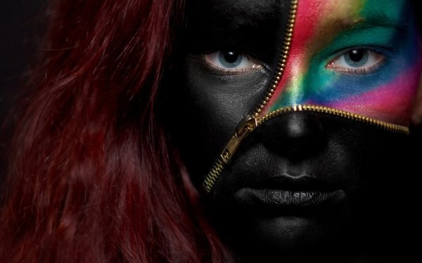 Women Artistic Face Paint Leather Black Blue Eyes HD Wallpaper | Background Image