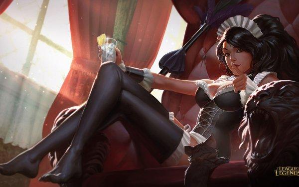 Jeux Vidéo League Of Legends Nidalee Woman Sitting Boisson Verre Maid Headdress Thigh Highs Corset Fond d'écran HD | Arrière-Plan