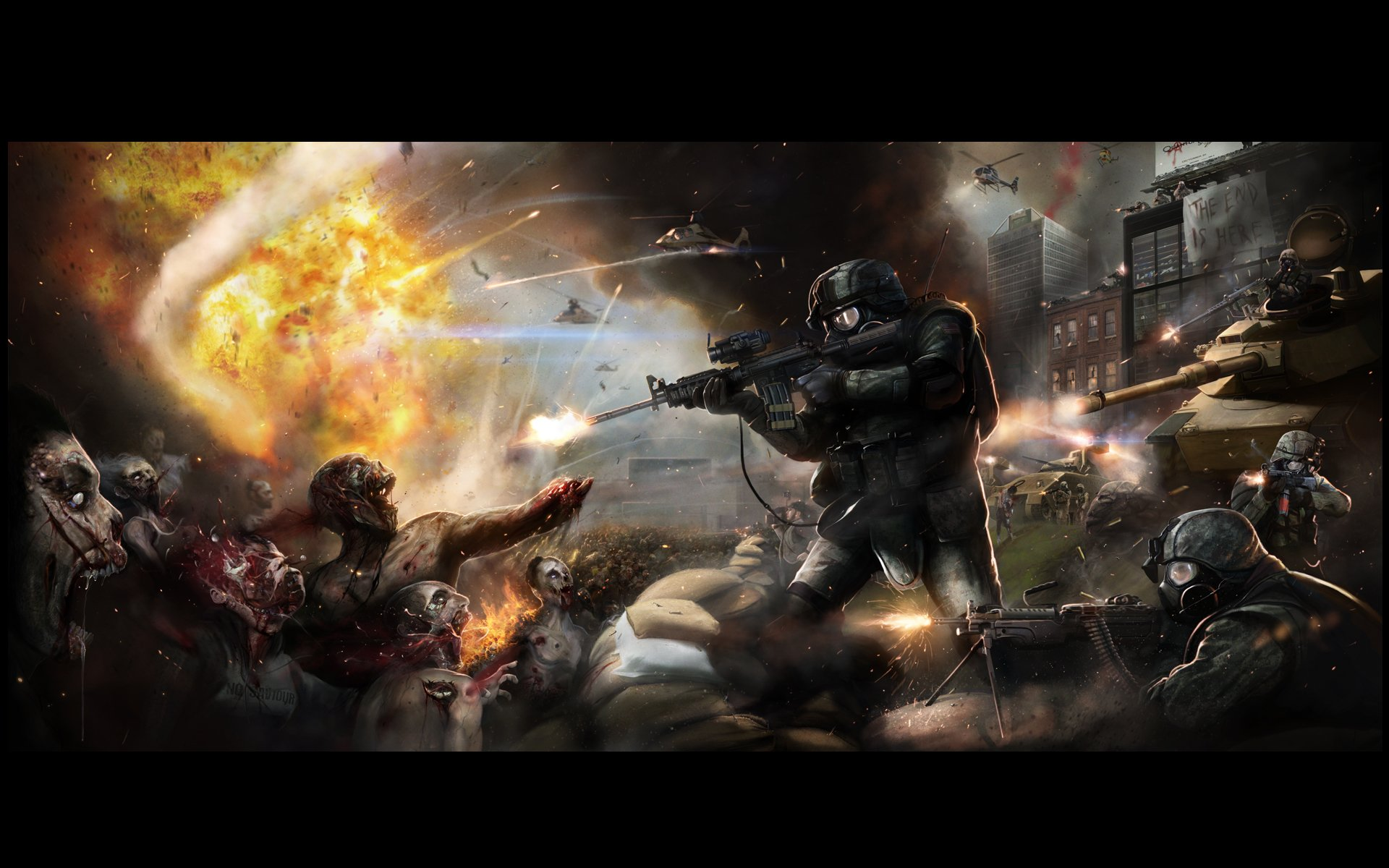 Dark - Zombie  War Fire Wallpaper
