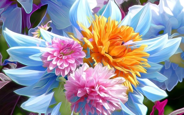 Artistic Painting Flower Dahlia Colorful HD Wallpaper | Background Image