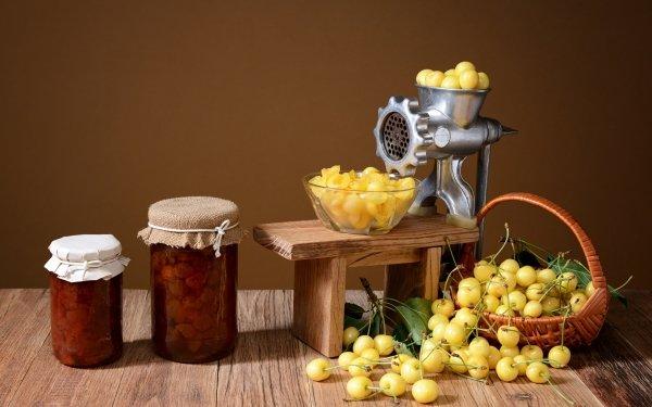 Food Cherry Fruits Still Life Berry Jar Jam HD Wallpaper | Background Image